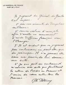 lettre manuscrite de Pétain sur la condamnation à mort de De Gaulle